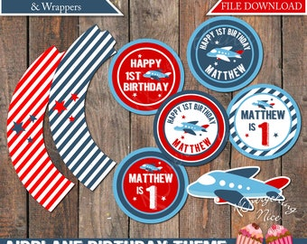 Airplane Birthday Theme Cupcake Toppers and Wrappers Printable Digital Download