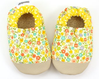 flower baby shoes yellow flowers rubber soles shoes rubber toe toddler shoes with flowers wildflower vegan baby soft sole shoes flower moccs