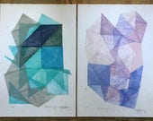 """Collection of 2 original linocut prints """" Magical Stones """", home wall decor by Paulina Varregn"""
