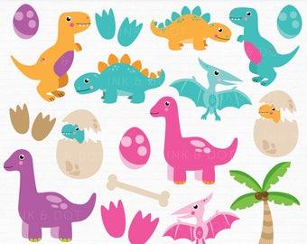 Dinosaur Clipart, Cute Dinosaurs, Pterodactyl, Dino, Tyrannosaurus Rex, Stegosaurus, Triceratops, Dinosaur Graphics - Commercial & Personal