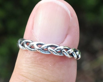 Vintage 925 Sterling Silver Braided Stacking Ring