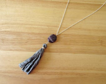 Amethyst Sari Silk Tassel Necklace