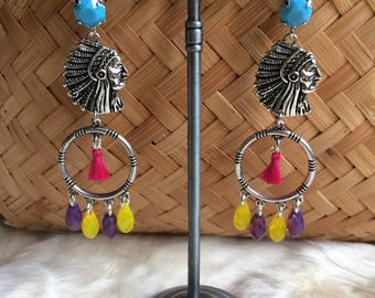 "Chic ethnic silver and colored balls, Indian Chief, tassels and crystals ""Indian summer"""