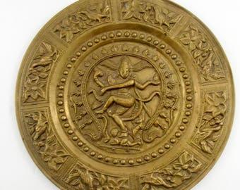 Brass Decorative Plate Hindu Goddess / Brass / Tray / Vintage / Wall Decor