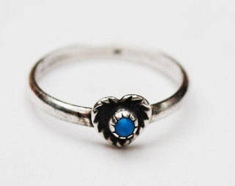 Sterling Ring Turquoise Heart ring size 4.5 Wheeler