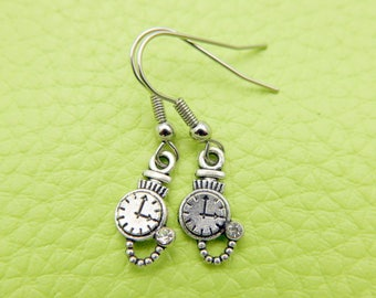 Alice in wonderland Clock Earrings stainless steel