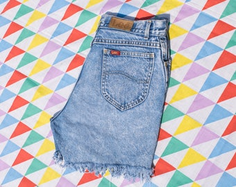 Vintage 80s Lee Women's Sz 11 Cutoff Jean Shorts Acid Wash