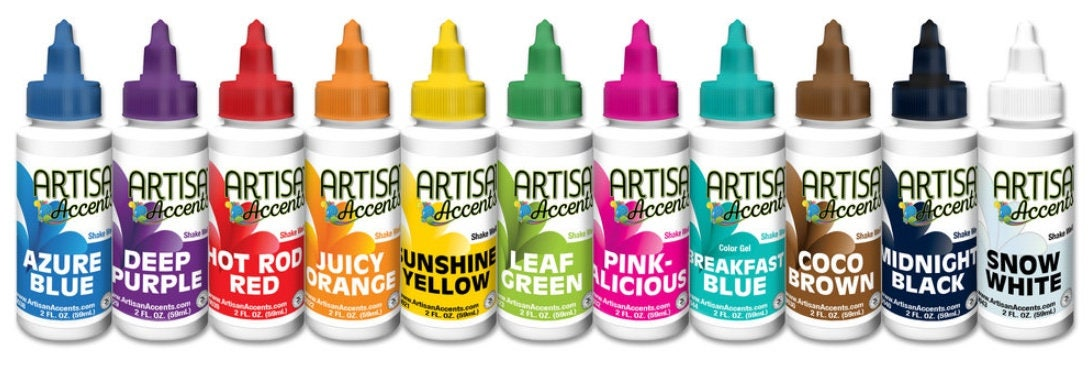 Artisan Accents Gel Colors 2 oz. Food Coloring Pink Blue
