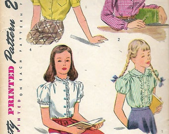 """Vintage 1940's Simplicity 2001 Girl's Blouse Sewing Pattern Size 12 Bust 30"""""""