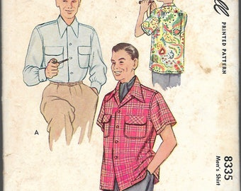 "Vintage 1950 McCall 8335 Men's Shirt Sewing Pattern Size Medium Neck 15""-15 1/2""  UNCUT"