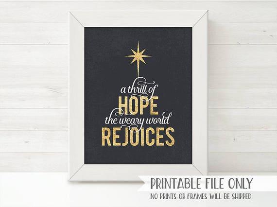 PRINTABLE Christmas Sign, Christian Christmas Decor, Thrill of Hope ...