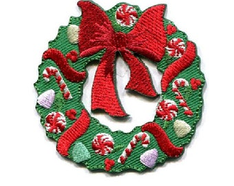 Wreath - Christmas - Candy Cane - Gum Drops - Embroidered Iron On Applique Patch