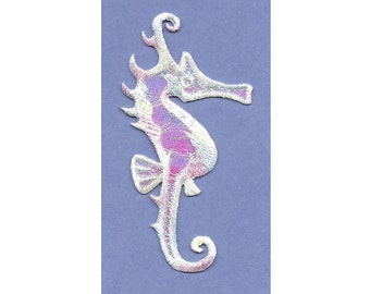 Seahorse - Beach - Summer - Pastels - Embroidered Iron On Applique Patch