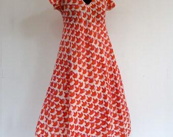 Dress mid long summer short petals, cotton/viscose ecru patterned salmon