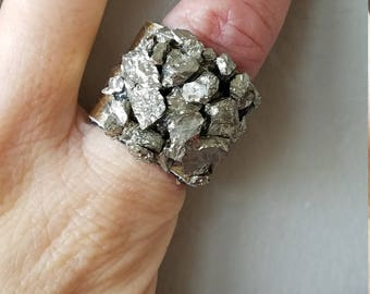 Natural chunky pyrite Crystal cluster ring . Sparkly A+ pyrite ring.