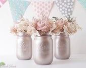 Blush Wedding Decor / Rose Gold / Silver champagne / Painted Mason Jars / Vase / Centerpiece / Table Decor / Romantic wedding / 3 pints jars
