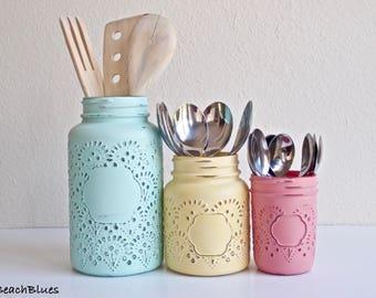 Kitchen Canisters / Utensil Holders / Painted Mason Jars / Vase / Home Decor / Summer Decor / Yellow Aqua Pink / Kitchen Decor Set of 3