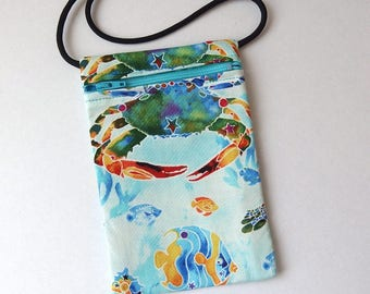 """Pouch Zip Bag CRAB Fish Beach Fabric. Great for walkers markets travel.  Cell Phone Pouch. Many uses. Small blue fabric Purse 6.75""""x4.25"""""""