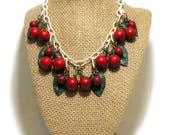 Circa 1940's Celluloid Chain Necklace / CERISE JUTEUSE / Cherries and Leaves Fruit Theme / Early Plastic Bakelite Era