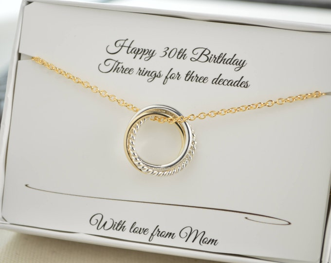 30th Birthday gift for daughter, 30th Birthday for her, 3 Interlocking rings, 3rd Anniversary gift, Petite necklace, 3 Sisters necklace
