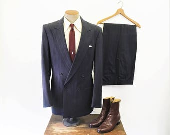 1970s Vintage CHRISTIAN DIOR Suit 2 piece Men's Gray Wool Pin Striped Jacket / Blazer & Pants by Dior Monsieur - Size 42 Long (LARGE)