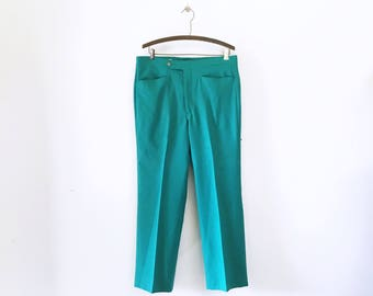 Early 1980s Vintage Men's Teal Pants Greenish-Blue International Collection Men's 80s Pants / Trousers / Slacks Size LARGE