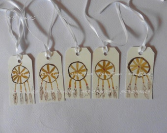 Gift Tags, Native American Dreamcatcher- Watercolor tags, Thank you tags, handmade, hand painted, hostess tags, Fine Art Watercolor