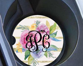 Monogrammed gifts for her, Pink auto decor, Floral car cup holder coaster, Faux glitter gold and pink, Initials Gold Stripes (17380