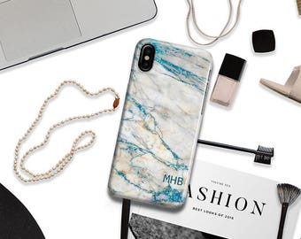 Marble iPhone X case monogram Marble iPhone case blue and white Gift for teen granddaughter For 4/4s 5/5s 6/6s 7 8 5c SE and Plus (1827)