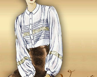 1940s Heirloom Blouse Pattern * Pin Tucks and Lace Insertion Detail Front and Back Round Collar Sleeve Options Bust 34 Vogue 6286