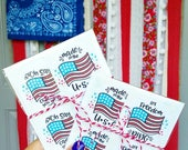 American flag fourth of July patriotic made in the USA stickers packaging supplies