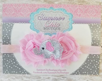 Baby Headband, Elephant Headband, Infant Headband, Newborn Headband, Toddler Headband, Pink Easter Bunny Headband, Pink and Gray Headband