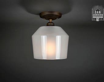 Flush Ceiling Mount   Semi-Flush   Edison Bulb Light Fixture   Oil Rubbed Bronze   Milk Funnel Shade