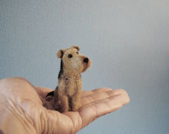 Custom Made Pet Portrait, SMALL SIZE, Needle Felted Miniature Dog, Needle Felted Airedale Terrier, Pug or any other breed