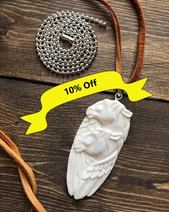 Sterling Silver, Handcarved, Pegasus, Buffalo Bone, White Horse, Unicorn, Totem Animal, Bison Bone, Buckskin Leather Cord, Suede Cord