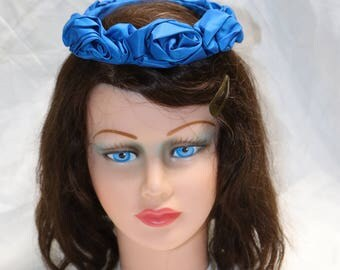 1950s Blue  Satin Circlet Hat  - Very Good to Excellent Condition - Unmarked - Ladies Hat