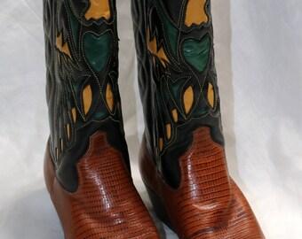 Vintage 1980s Cowboy Boots - Nine West - Faux Croc -  Brown & Black Leather - Gold/Green Eagle Design - Navarre - Made in Brazil - Size 8 M