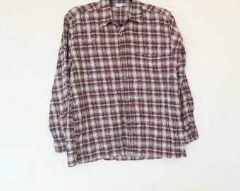 Burgundy Plaid Flannel Shirt Vintage Men's Flannel Button Up Red Plaid Print Women's Oversized Checkered Flannel Shirt 90s Grunge Flannel
