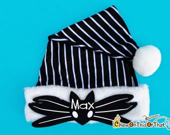 Jack Skellington Nightmare Before Christmas Santa Hat, Personalized Black White Elf Hat, Kids, Adult, Tim Burton, Halloweentown Pumpkin King