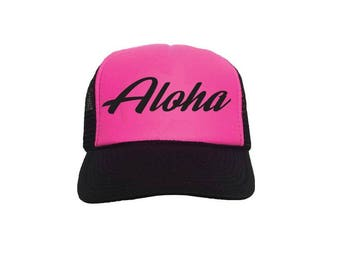 Aloha Custom Vinyl Black Foam Trucker Mesh Back Hat Snapback