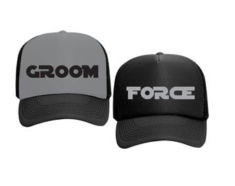 Groom and Force Hats Star Wars Bachlorette White or Black Foam Trucker Mesh Back Hat Snapback