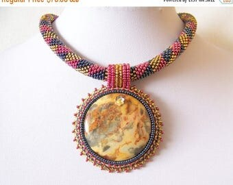 40% SALE Beadwork Bead Embroidery Pendant Necklace with Mexican Crazy Agate - DREAMING a DREAM - Geometric - Fall Fashion
