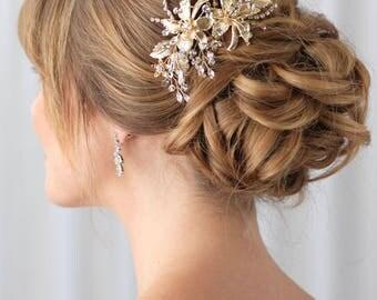 Gold Bridal Hair Clip, Gold Wedding Hair Clip, Floral Hair Clip, Bridal Hair Comb, Gold Headpiece, Gold Hair Clip,Bride Hair Clip ~TC-2288-G