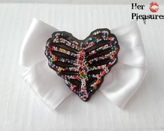 Real Candy Sprinkle Skeleton Heart Hair Bow Rockabilly pinup punk hair
