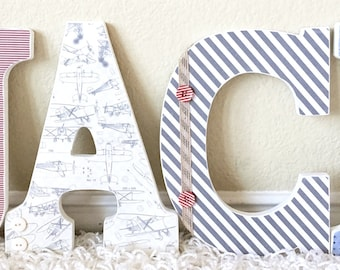 Custom Nursery Letters, Baby Boy Vintage Airplane Room Decor, Map, Wooden Letters, Wall Letters, Hanging Letters, Airplane Baby Shower