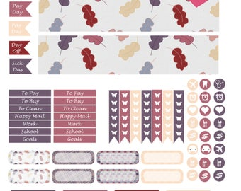 Monthly Fall Printable Planner Stickers, 2 Pages, Digital Download for Erin Condren Life Planner