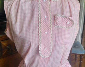 Vintage 1950s pink and white gingham skirt and blouse set, Fritzi, M to L