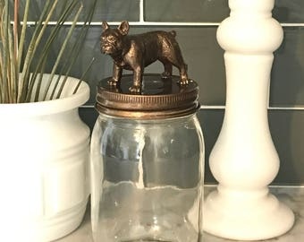 The ORIGINAL Recycled Glass French Bulldog Jar in Metallic Bronze
