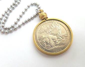 Yellowstone Quarter Coin in Vintage Brass Holder Necklace with Stainless Steel Ball Chain - 2010 USA State Quarter - National Park Quarter