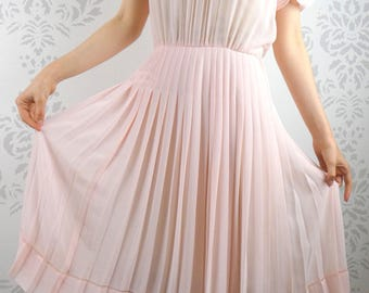 VINTAGE PINK DRESS 1950s Sheer Fagoting Pleats Ruffles Size Small
